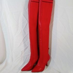 CHERRY RED Clingy Thigh High Stiletto GOGO Boot